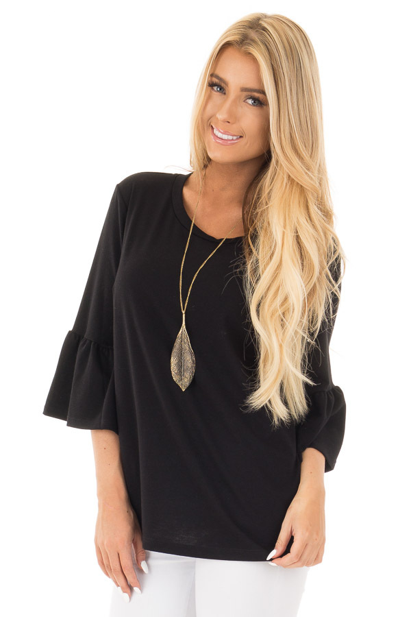 Black Soft Knit Top with Bell Sleeve Detail front close up