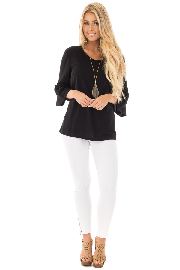 Black Soft Knit Top with Bell Sleeve Detail front full body