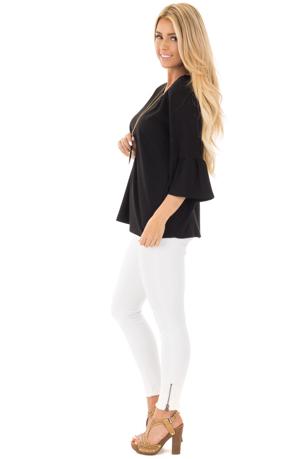 Black Soft Knit Top with Bell Sleeve Detail side full body