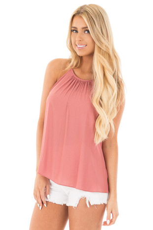 Mauve Pleated Halter Top with Button Back Detail front close up