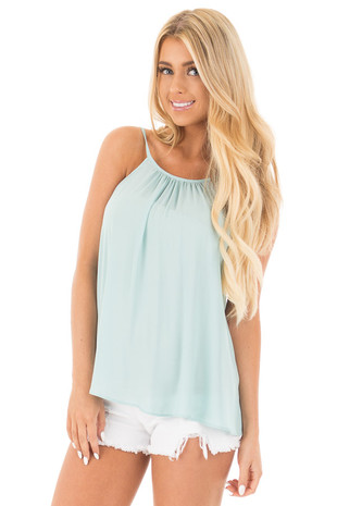 Soft Mint Pleated Halter Top with Button Back Detail front close up