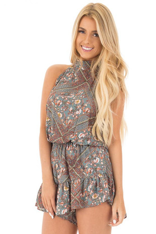 Slate Grey Paisley Print High Neck Romper with Open Back front close up
