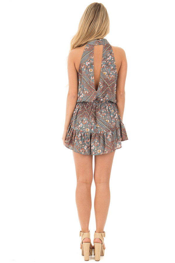 Slate Grey Paisley Print High Neck Romper with Open Back back full body