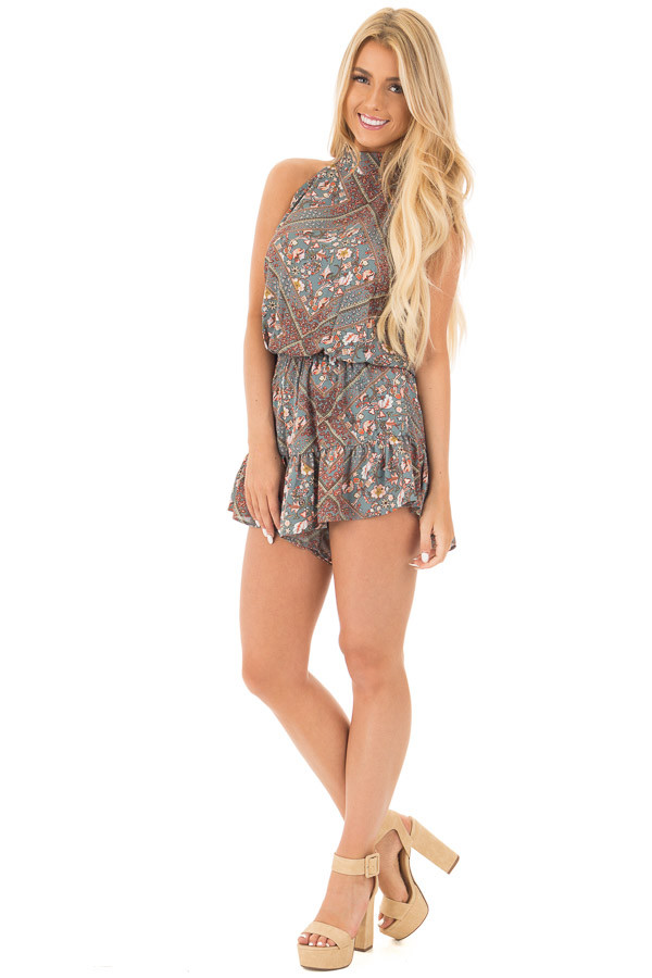 Slate Grey Paisley Print High Neck Romper with Open Back front full body