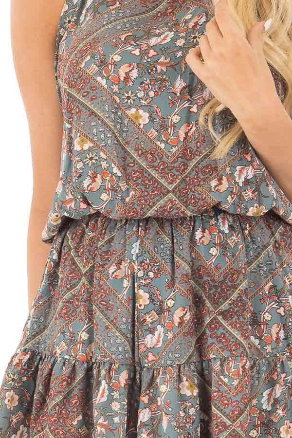 Slate Grey Paisley Print High Neck Romper with Open Back detail