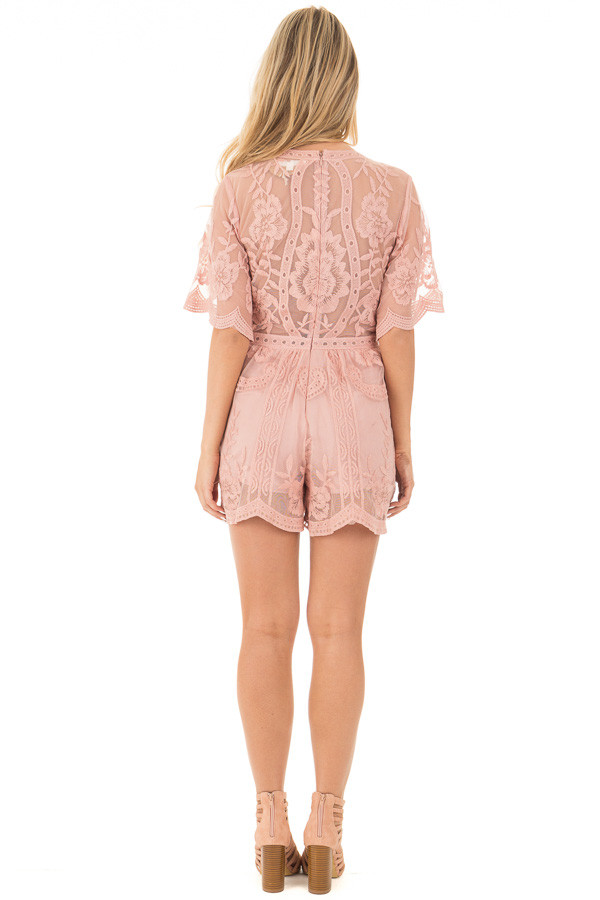 Dusty Blush Romper with Detailed Sheer Lace Back back full body