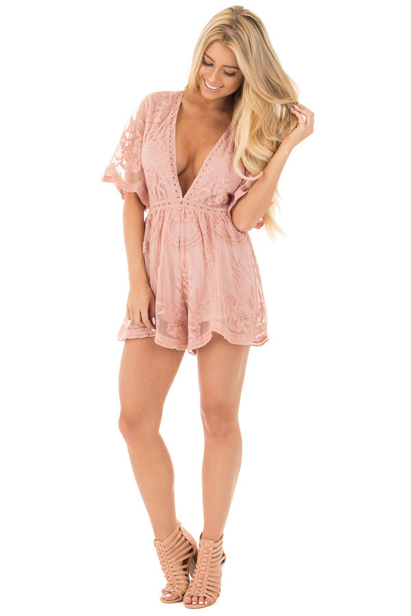 Dusty Blush Romper with Detailed Sheer Lace Back front full body