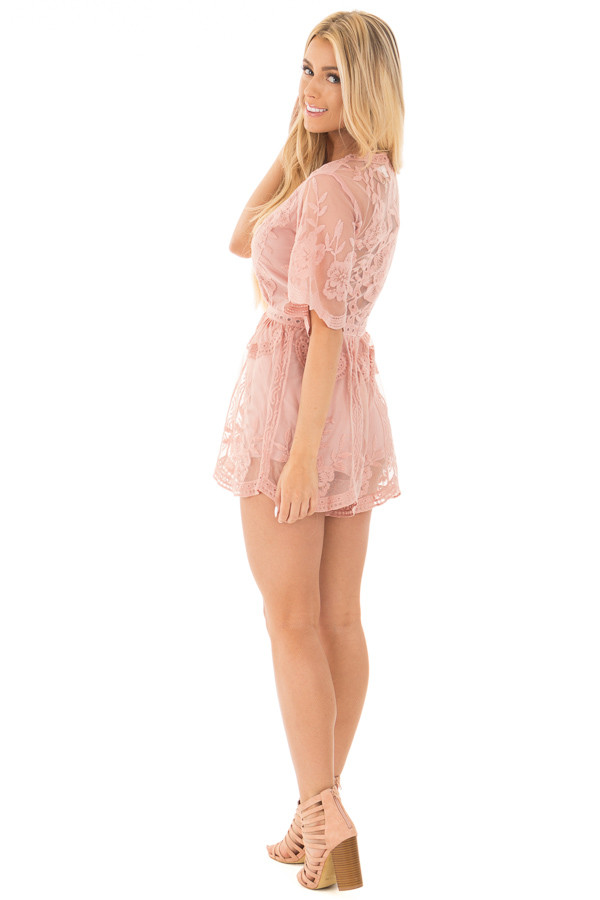 Dusty Blush Romper with Detailed Sheer Lace Back side full body
