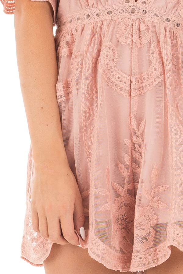 Dusty Blush Romper with Detailed Sheer Lace Back detail