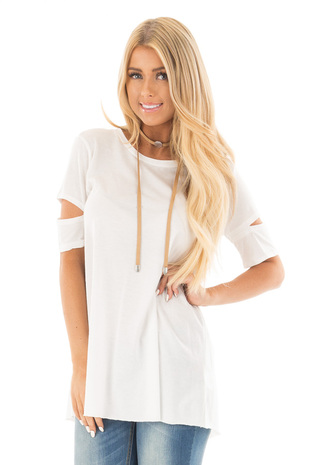 White Open Back Tee with Sleeve Cutout and Raw Hem Details front close up