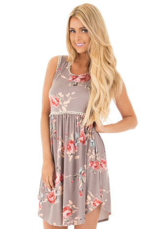 Lilac Grey Floral Print Mini Dress with Lace Trim Detail front close up