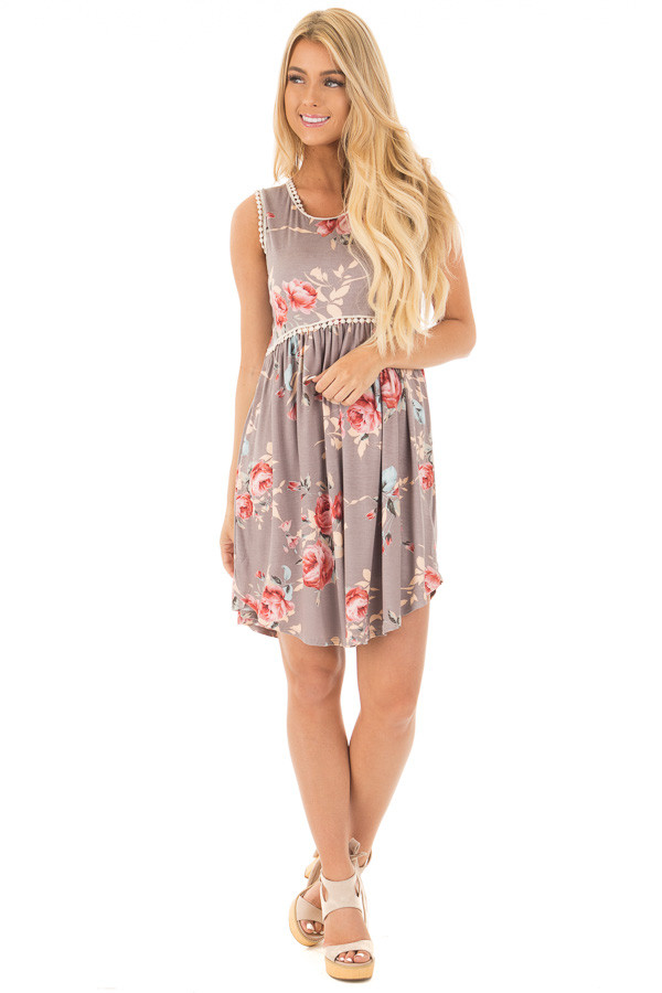 Lilac Grey Floral Print Mini Dress with Lace Trim Detail front full body