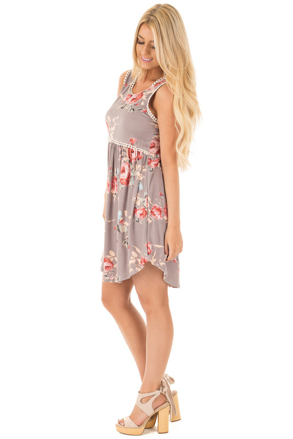 Lilac Grey Floral Print Mini Dress with Lace Trim Detail side full body