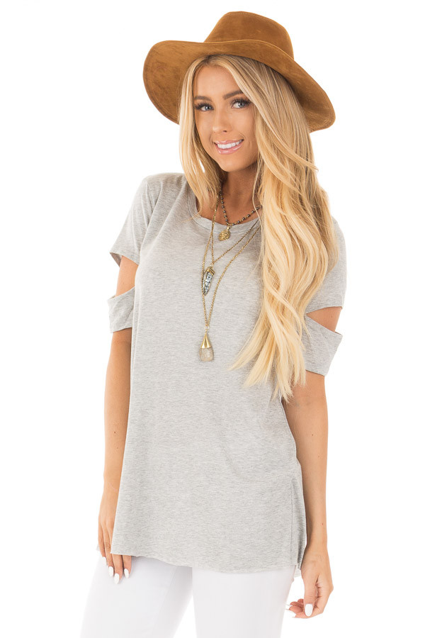 Heather Grey Open Back Tee with Sleeve Cutout Details front close up