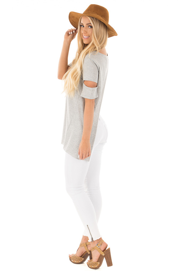 Heather Grey Open Back Tee with Sleeve Cutout Details side full body