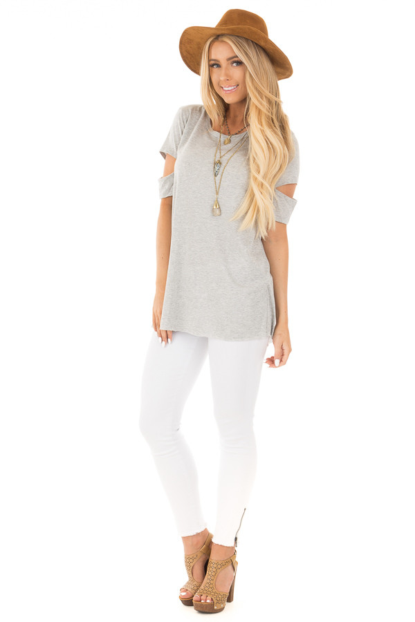 Heather Grey Open Back Tee with Sleeve Cutout Details front full body