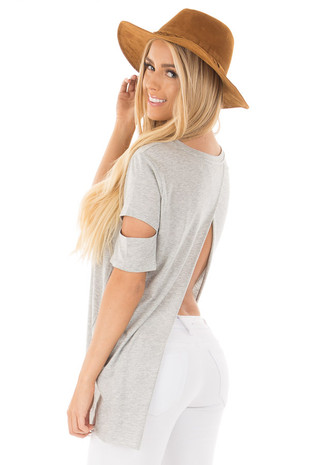 Heather Grey Open Back Tee with Sleeve Cutout Details back side close up