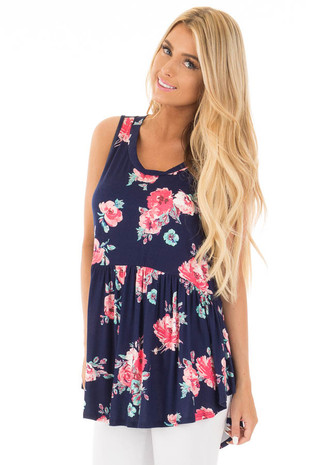 Navy Floral Sleeveless Babydoll Tunic Top with Side Slits front full body