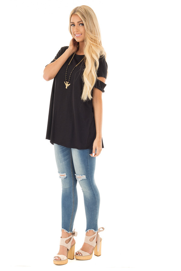 Black Open Back Tee with Sleeve Cutout Details front full body