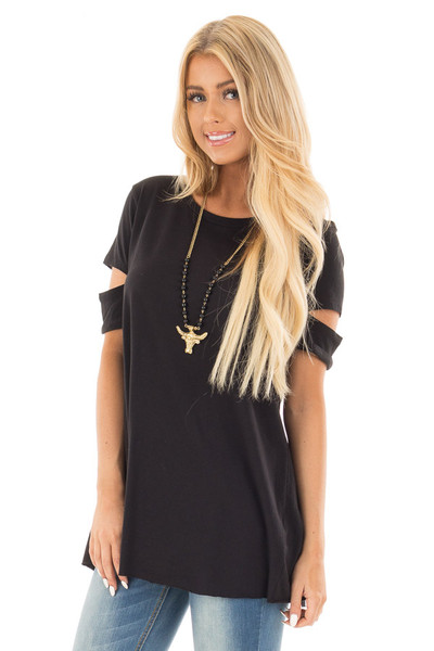 Black Open Back Tee with Sleeve Cutout Details front close up
