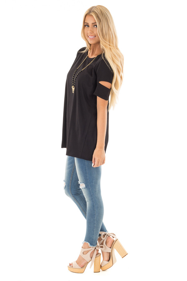 Black Open Back Tee with Sleeve Cutout Details side full body