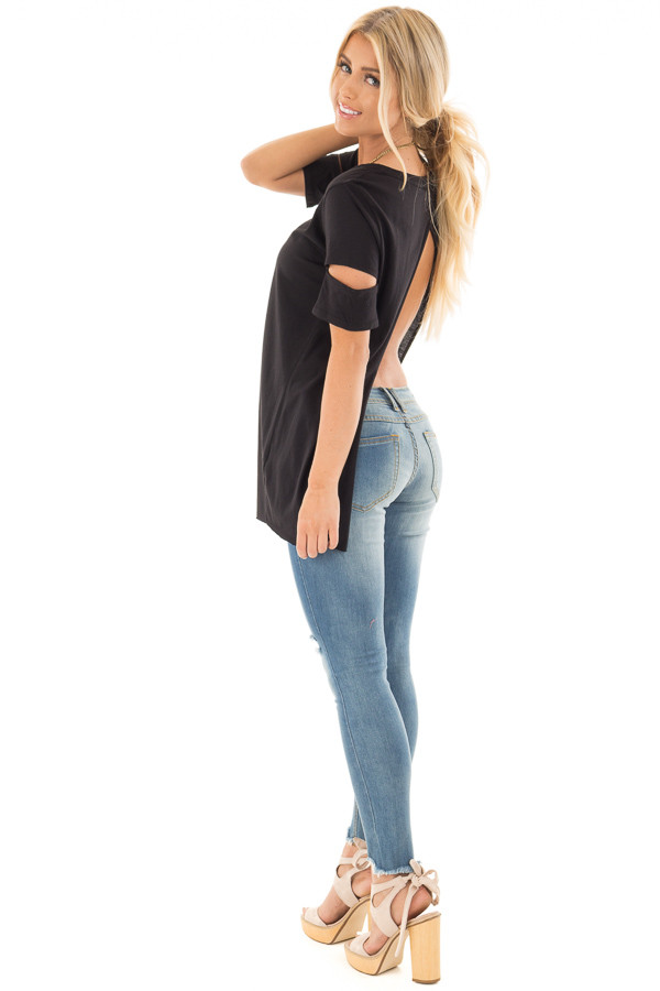 Black Open Back Tee with Sleeve Cutout Details back side full body