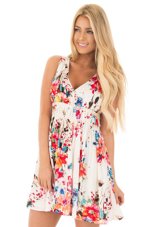 Ivory Colorful V Neck Dress with Gathered Waist front full body