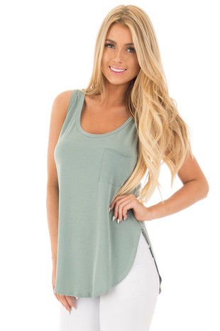Sage Loose Fit Hi-Low Tank with Front Pocket and Side Slits front close up