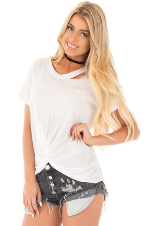 White Tee with Twisted Front and Neckline Cutout Detail front close up