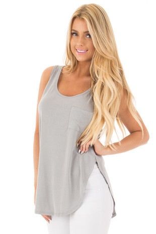Grey Loose Fit Hi-Low Tank with Front Pocket and Side Slits front close up