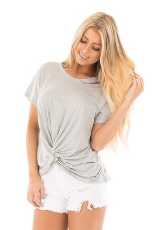 Heather Grey Tee with Twisted Front and Neckline Cutout front close up