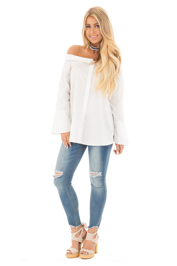 White Off the Shoulder Button Up Blouse with Bell Sleeves | Lime Lush