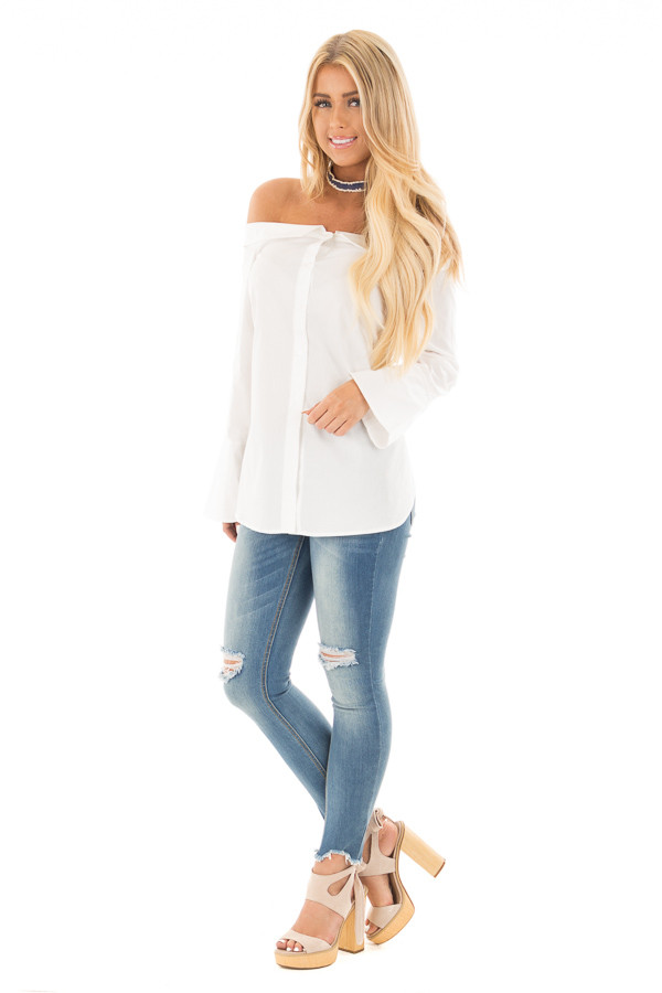 White off the shoulder button up blouse with bell sleeves for Bell bottom sleeve shirt