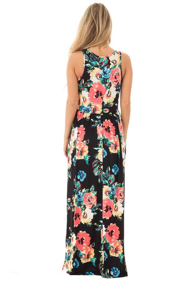 Black Watercolor Floral Print Maxi Dress with Side Pockets back full body