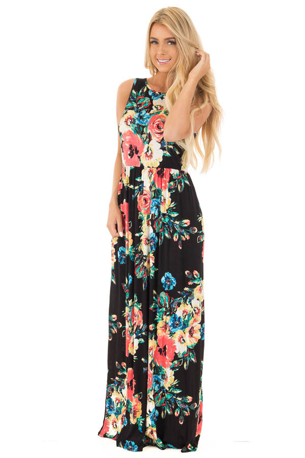 Black Watercolor Floral Print Maxi Dress with Side Pockets front full body