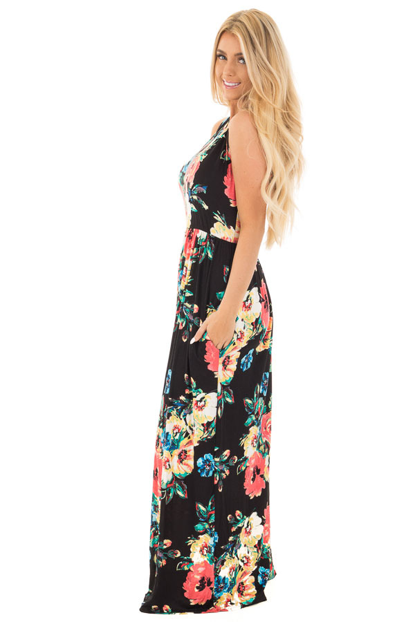 Black Watercolor Floral Print Maxi Dress with Side Pockets side full body