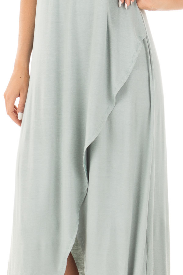Dusty Sage High Low Dress with Criss Cross Strap Back detail