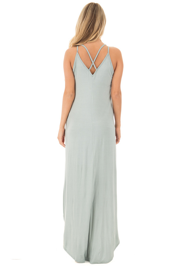 Dusty Sage High Low Dress with Criss Cross Strap Back back full body