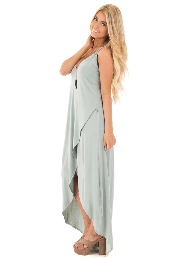 Dusty Sage High Low Dress with Criss Cross Strap Back side full body