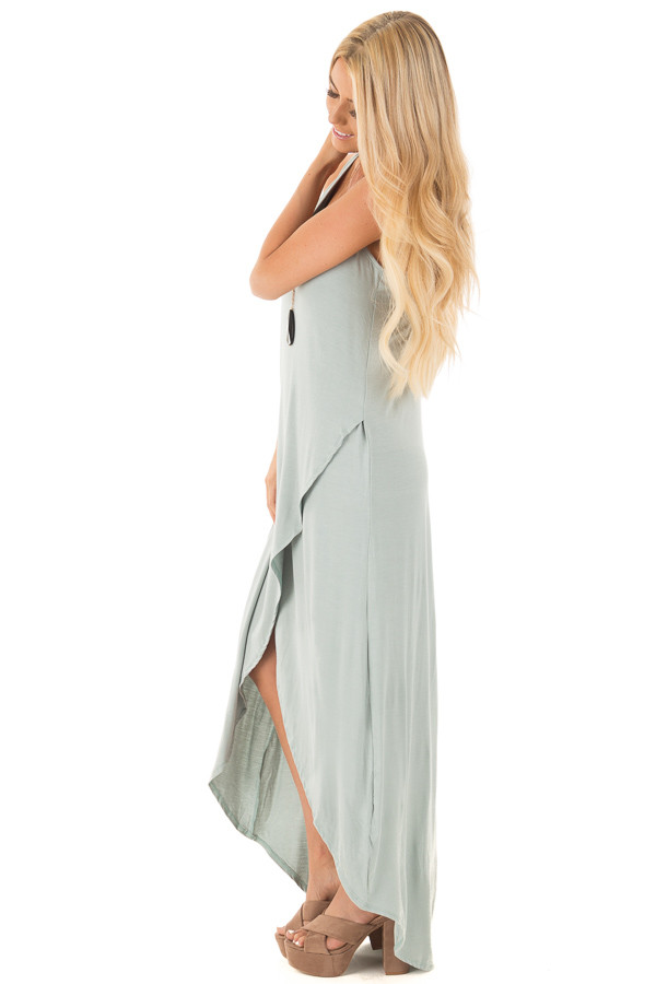 Dusty Sage High Low Dress with Criss Cross Strap Back front full body