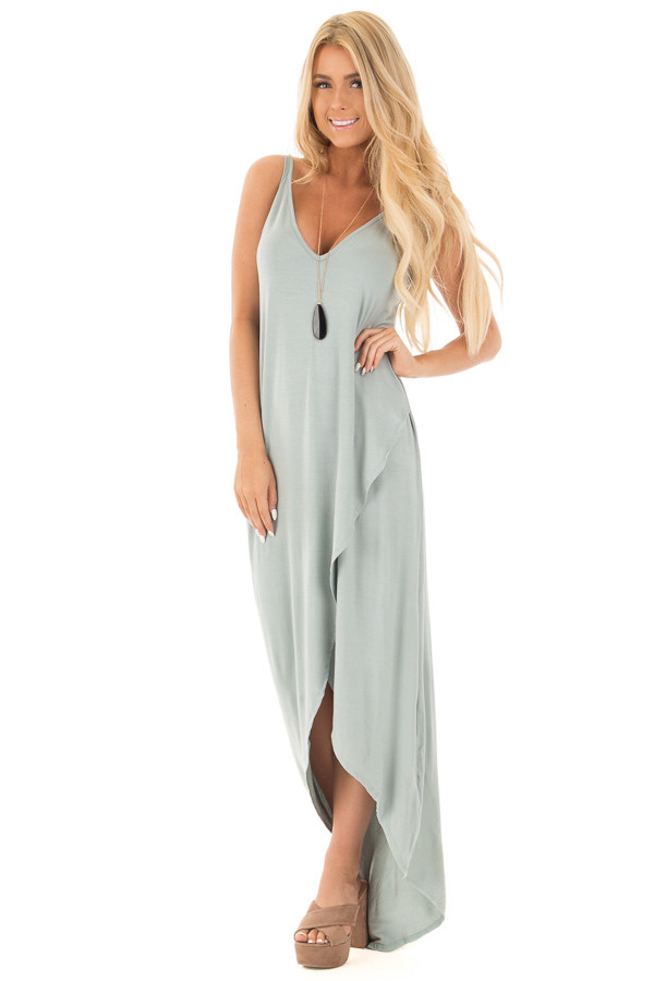 Dusty Sage High Low Dress With Criss Cross Strap Back
