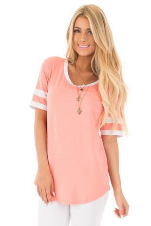 Coral Short Sleeve Top with White Stripe Sleeve Detail front close up