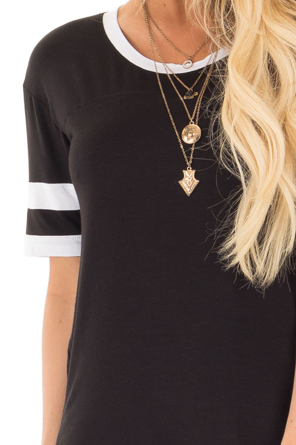 Black Short Sleeve Top with White Stripe Sleeve Detail detail