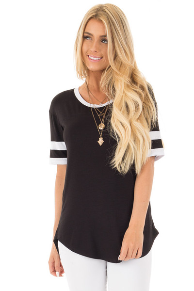 Black Short Sleeve Top with White Stripe Sleeve Detail front close up