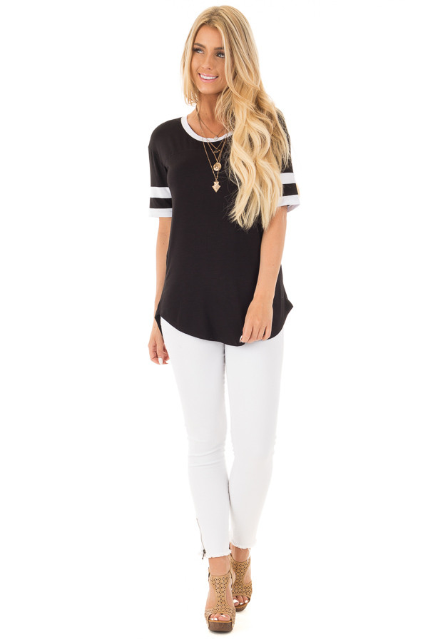 Black Short Sleeve Top with White Stripe Sleeve Detail front full body