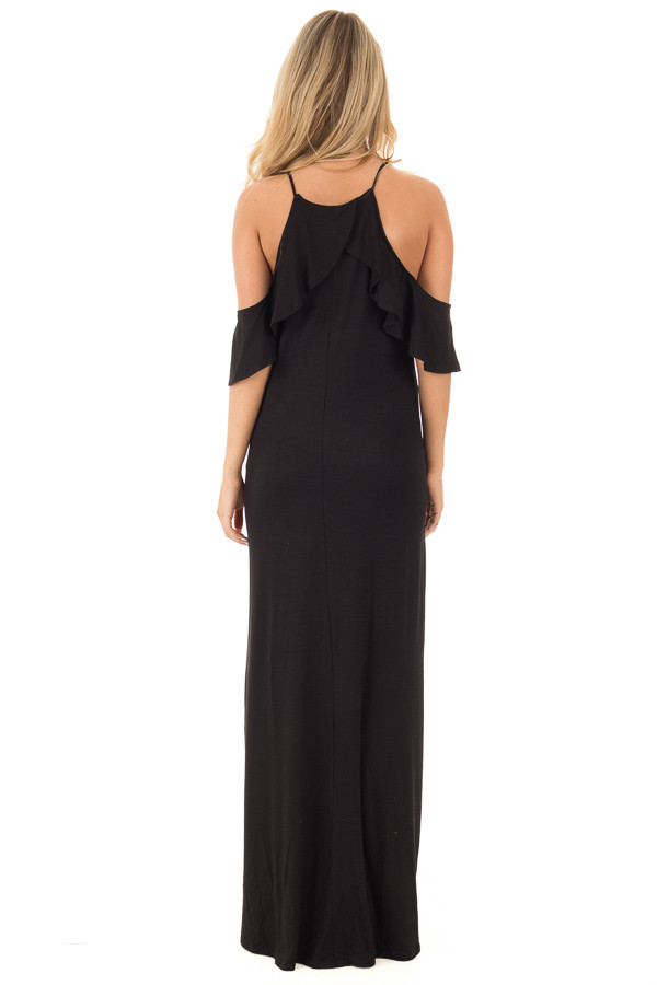 Black Cold Shoulder and Ruffle Detail Maxi Dress with Pockets back full body