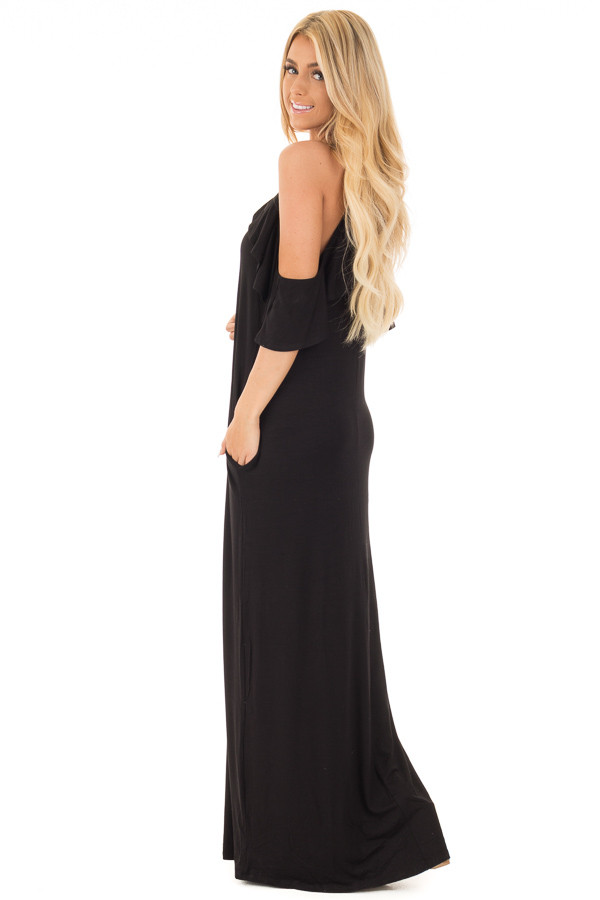 Black Cold Shoulder and Ruffle Detail Maxi Dress with Pockets side full body