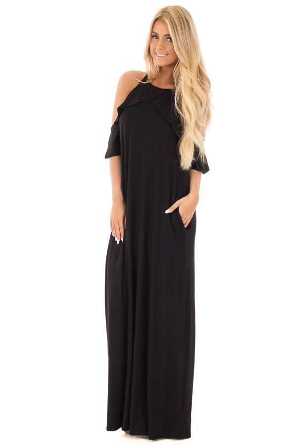 Black Cold Shoulder and Ruffle Detail Maxi Dress with Pockets front full body