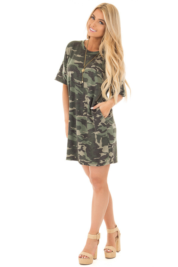 Camouflage Short Sleeve T-Shirt Dress with Hidden Pockets front full body