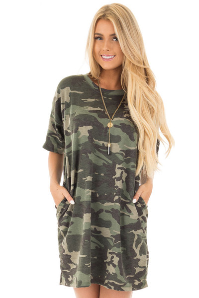 Camouflage Short Sleeve T-Shirt Dress with Hidden Pockets front close up